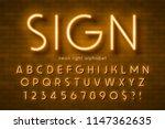 neon light alphabet  extra... | Shutterstock .eps vector #1147362635