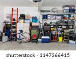 garage storage shelves with... | Shutterstock . vector #1147366415