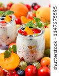 vegan yogurt chia seeds  on... | Shutterstock . vector #1147375595