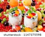 vegan yogurt chia seeds  on... | Shutterstock . vector #1147375598