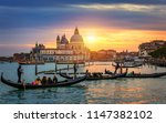grand canal with gondolas in... | Shutterstock . vector #1147382102