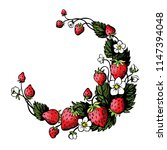 isolated hand drawn wreath with ... | Shutterstock .eps vector #1147394048
