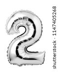number 2 of silver foil balloon ...   Shutterstock . vector #1147405268