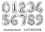 silver foil number balloons... | Shutterstock . vector #1147405298