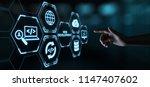web development coding... | Shutterstock . vector #1147407602