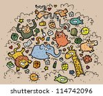 composition of funny animals... | Shutterstock .eps vector #114742096