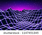 neon grid landscape with old... | Shutterstock . vector #1147451345