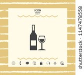 bottle of wine and wineglass... | Shutterstock .eps vector #1147478558