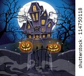 happy halloween cozy haunted... | Shutterstock .eps vector #114750118