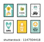 colorful childish vector cards... | Shutterstock .eps vector #1147504418