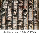 ancient wall of stone. metal... | Shutterstock . vector #1147511975