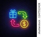 cash back neon icon vector.... | Shutterstock .eps vector #1147512428