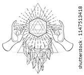buddha hands over sacred...   Shutterstock .eps vector #1147513418