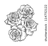 roses  hand drawn  | Shutterstock . vector #114752122