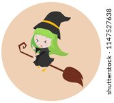 cute girl witch flying on... | Shutterstock .eps vector #1147527638