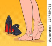 pop art woman feet with patch... | Shutterstock .eps vector #1147554788