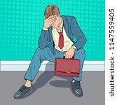 pop art stressed businessman... | Shutterstock .eps vector #1147559405