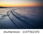 trails on the surface of frozen ...   Shutterstock . vector #1147562192