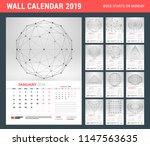 wall calendar template for 2019 ... | Shutterstock .eps vector #1147563635