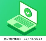 laptop with checkmark or tick ... | Shutterstock .eps vector #1147570115