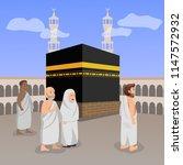 hajj  pilgrimage  islamic... | Shutterstock .eps vector #1147572932