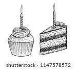 piece of cake and muffin with... | Shutterstock .eps vector #1147578572