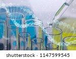 double exposure  dna molecular...   Shutterstock . vector #1147599545