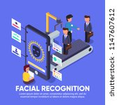 isomatric facial recognition... | Shutterstock .eps vector #1147607612