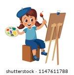happy little girl in a beret...   Shutterstock .eps vector #1147611788