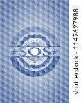 sos blue badge with geometric... | Shutterstock .eps vector #1147627988