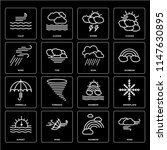 set of 16 icons such as wind ...