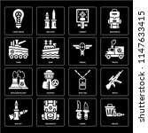 set of 16 icons such as waste ...