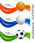 set of banners with balls | Shutterstock .eps vector #114764782