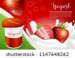 strawberry and yogurt milk... | Shutterstock .eps vector #1147648262