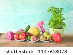 fitness equipment and healthy... | Shutterstock . vector #1147658078