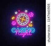 casino night neon logo . casino ... | Shutterstock . vector #1147660505