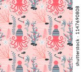 whimsical christmas pattern | Shutterstock .eps vector #1147690808