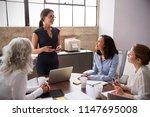 female manager in glasses... | Shutterstock . vector #1147695008