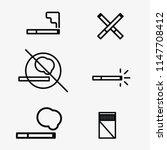 smoke cigarettes vector icons... | Shutterstock .eps vector #1147708412
