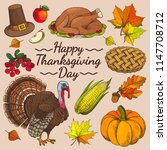 happy thanksgiving day promo... | Shutterstock .eps vector #1147708712