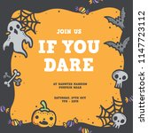 cute halloween poster  ... | Shutterstock .eps vector #1147723112