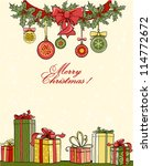 christmas background with gifts | Shutterstock .eps vector #114772672