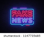 fake news neon sign . breaking... | Shutterstock . vector #1147735685