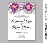 romantic violet peony... | Shutterstock .eps vector #1147760348