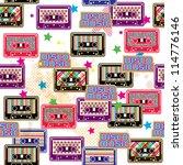 seamless pattern with cassette  ... | Shutterstock .eps vector #114776146