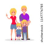 flat blondes family with... | Shutterstock .eps vector #1147776785
