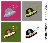 a little cartoon flying saucer... | Shutterstock .eps vector #1147779968
