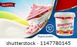 natural strawberry greek yogurt ... | Shutterstock . vector #1147780145