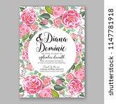 romantic pink peony ranunculus... | Shutterstock .eps vector #1147781918