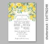 romantic yellow sunflower peony ... | Shutterstock .eps vector #1147782248